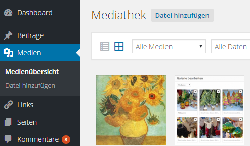 Fotos in WordPress-Mediathek hochladen