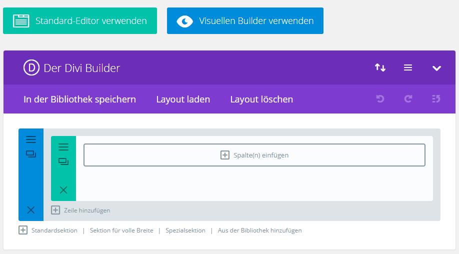 Aktivierter Divi Page Builder